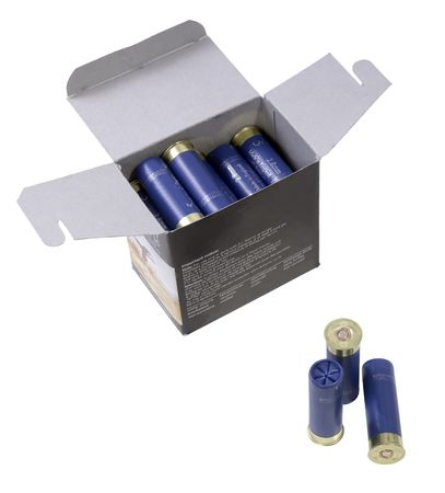neatly stacked: neatly stacked shotgun shells in a box, to be used for hunting.