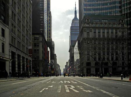 Fifth Avenue on st. Patricks Day. The empty firelane in a backlit scene