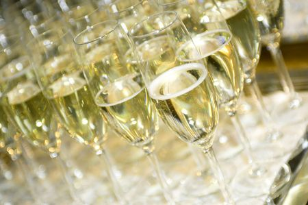 A row of champagne glasses photo
