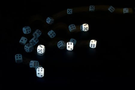 tumbling: Tumbling dice, captured with a stroboscopic flash