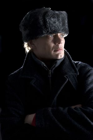 A man, dressed in Soviet attire looking away from the camera Stock Photo - 2384197