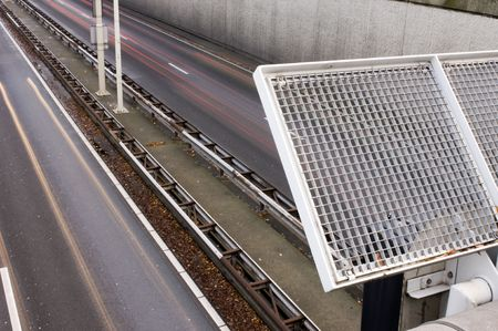The safety fence on an overpass over a motorway Stock Photo - 2546976