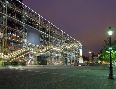 The famous Centre Pompidou at night