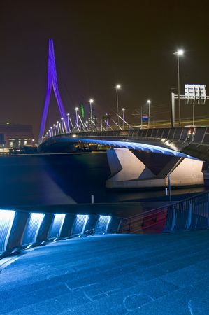 The famous Erasmus Bridge, seen from the boardwalk, next to the river front. Stock Photo - 2557987