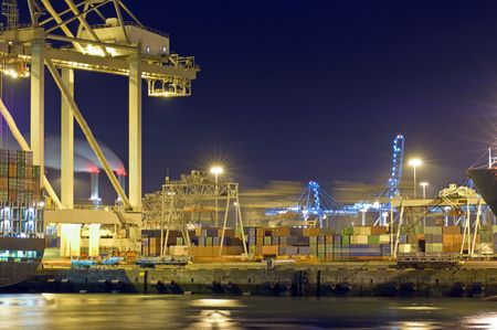 conveyors: Activity at night in Rotterdam Harbor