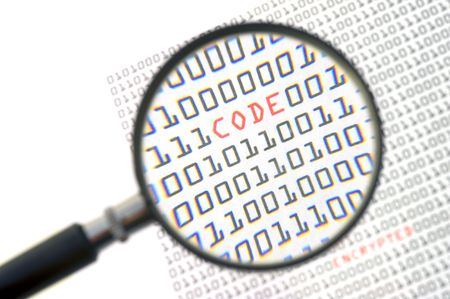 zooming: A magnifying glass, zooming in on the word code in red, surrounded by zeros and ones of the binary page text