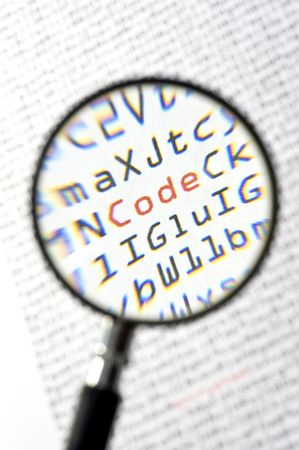 zeros: A magnifying glass, zooming in on the word code in red, surrounded by zeros and ones of the binary page text