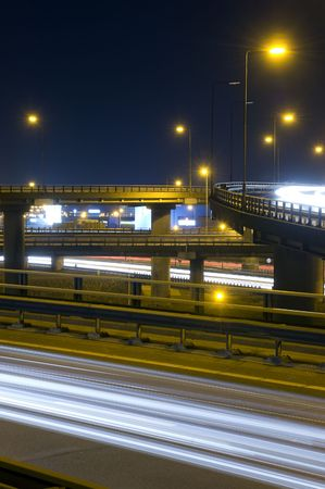 viaducts: The viaducts of a motorway junction at night Stock Photo