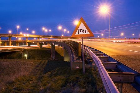 viaducts: The windvane on a sign, warning the traffic for heavy winds on the motorway overpass