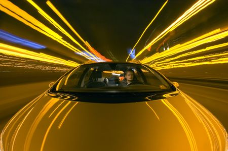 A car driving on the motorway at night photo
