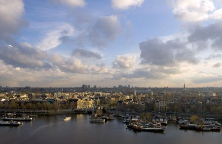 The skyline of Amsterdam, basking in the warm spring sunlight. Stock Photo - 2955132