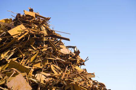 Metal scrap heap detail against a clear blue sky Stock Photo - 3355133