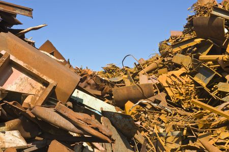 scrap heap: Heaps of different kinds of metal scrap in a scrap yard