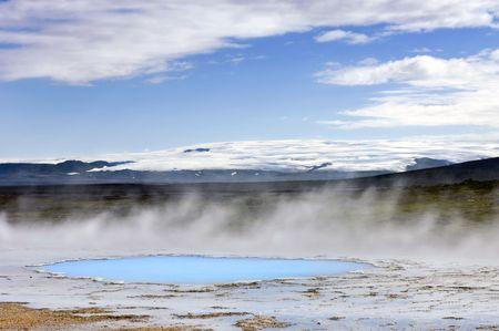resortes: La actividad geot�rmica y aguas termales en Hveravellir lo largo de la ruta de la sierra Kj�lur en Islandia Foto de archivo