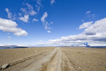 nowhere: A parking lot on the Sprengisandur highland road in Iceland, in the middle of nowhere, in between two major glaciers on the volcanic Mid Atlantic Ridge