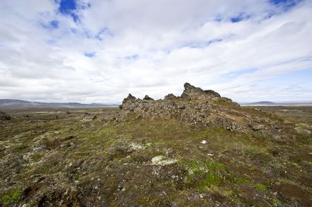 erratic: The extensive lava fields with its erratic shapesnear Hveravellir and the Kjolur Highland route in Iceland Stock Photo