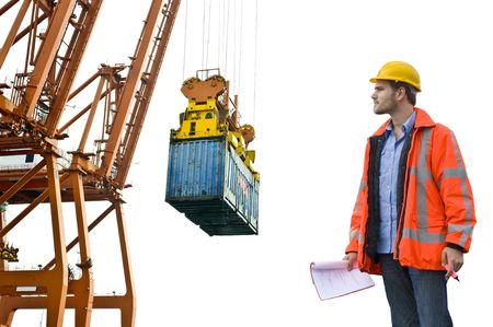 ship bow: A Customs Control officer, checking the unloading of freight containers at an industrial harbor, wearing a hard hat and safety coat
