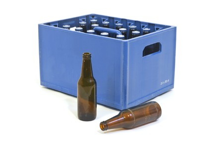 Blue Beer crate with two empty bottles in front photo