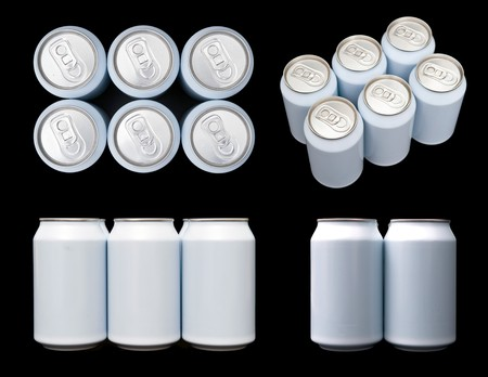 sixpack: Four projections (top, front, side and ortagnal) of a sixpack blank beverage cans.  Stock Photo