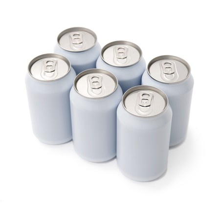 unprinted: A six pack of unprinted beverage cans