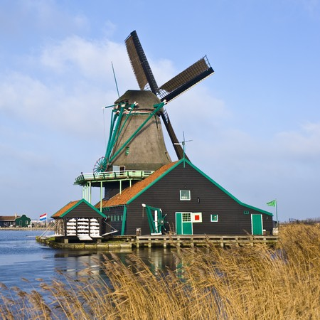 zaan: A typical Dutch Windmill in de Zaanse Schans