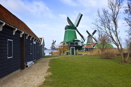 archetypal: The old, typically Dutch windmills and barn at the tourist attraction  Stock Photo