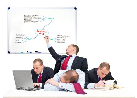 personality development: Conceptual image of a one-man business team, representative of being self employed Stock Photo