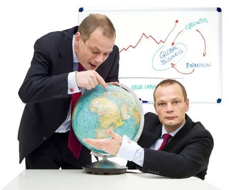 gaining: Conceptual image of discovering the potential of global business and gaining confidence in it.