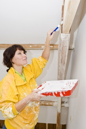 restored: A woman painting a newly restored room