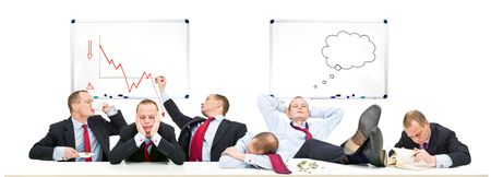 multiple personality: A conceptual representation of a board room on a slow day, with business going down due to the economic downturn, recession and financial crisis