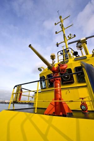 wheelhouse: The water gun of a harbor patrol fire boat
