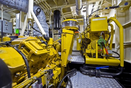 The engine room of a tugboat, used for firefighting tasks