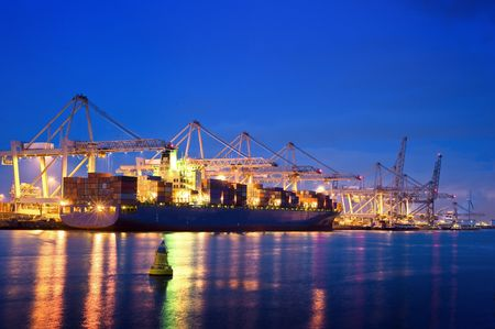 rotterdam: The activity of loading and unloading of huge container ships at the worlds biggest and busiest container harbor in Rotterdam
