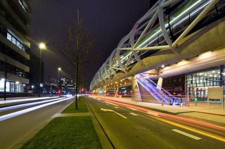 underlying: The futuristic elevated tram line in the Hague and underlying road Stock Photo