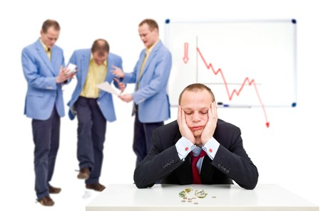 A manager having just sent his employees notice of the bankrupcy of their company, having to lay off his staff. Stock Photo - 4229741