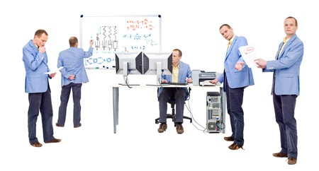 logic: Researchers proving a theory by heavy computing and logic thinking Stock Photo