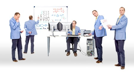 conclusive: Researchers proving a theory by heavy computing and logic thinking Stock Photo