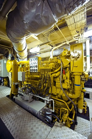 propulsion: The huge and powerful disel engine of a tugboat Stock Photo