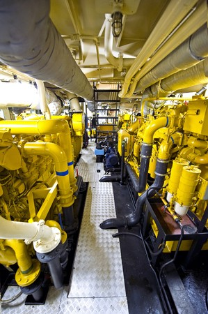 propulsion: The engine room of a tugboat, with the various diesel engines for propulsion