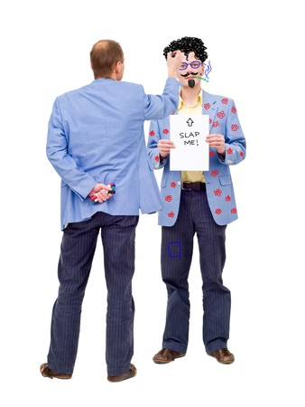mockery: Conceptual image about making fun out of oneself. Can be used to illustrate self-mockery, or social issues such as bullying at work.