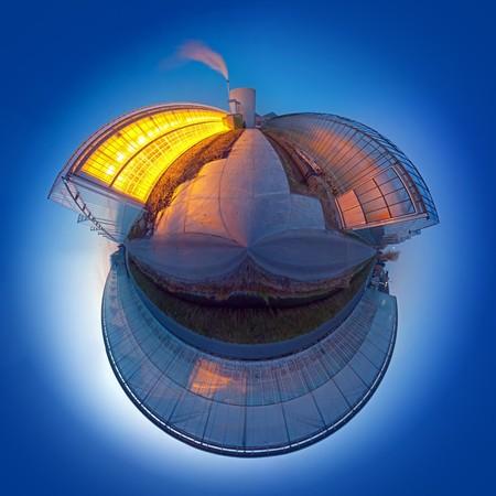 dioxido de carbono: Spherized, conceptuales mundo, lo que ilustra el calentamiento global y emisiones de di�xido de carbono mediante un invernadero como met�fora Foto de archivo