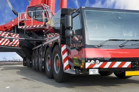 the largest: A close up of the worlds largest mobile crane Stock Photo