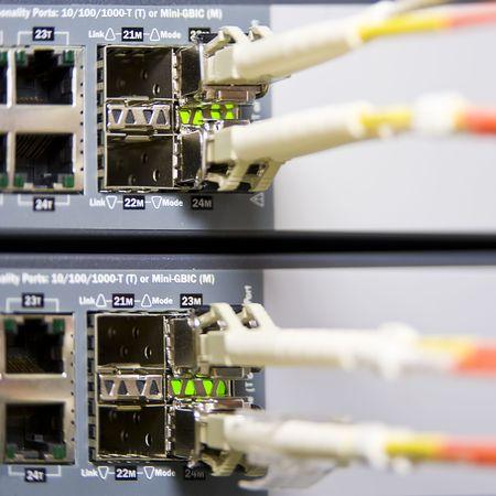 fiber optics: Fiber optics connectors on an internet server