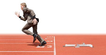 first step: Unternehmer aus den Startl�chern - eine Metapher f�r die Gr�ndung eines neuen Unternehmens, sich auf einen guten Start