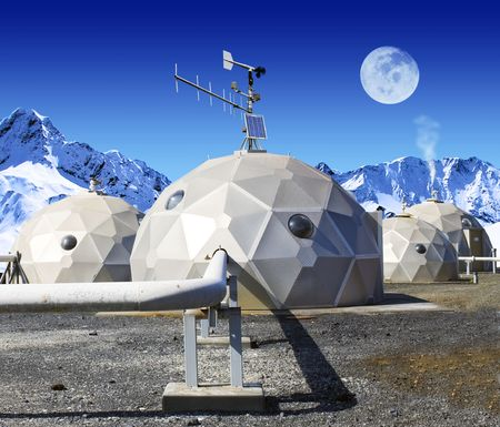 viewable: Geodomes in the tundra. The moon is viewable in the sky. No people are viewable. Squarely framed shot.
