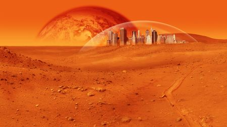 saturation: Fantasy image of city under a glass dome on red desert planet. The image is saturated red, and there are no people visible. Horizontally framed shot. Stock Photo