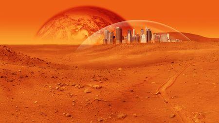 mars: Fantasy obraz miasta w obszarze Kopuła szkła na czerwony pustynie planecie. Obraz jest czerwony nasyconych i są widoczne nie osoby. Shot poziomo ramkami.