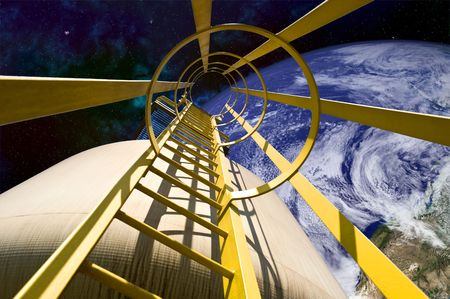 viewable: Close-up of ladder mechanism on ship in outer space. A cropped view of Earth is viewable in the background. Horizontally framed shot.