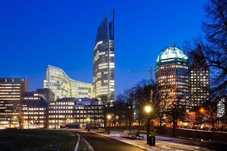 Downtown Den Haag, the Netherlands, as sunset on a winter evening Stock Photo - 6196333