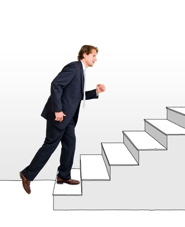 going for it: Conceptual image of a business moving up and making a career, one step at a time.